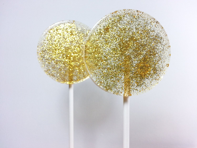 Gold Wedding Favors Gold Lollipops Gold Sparkle Sparkle