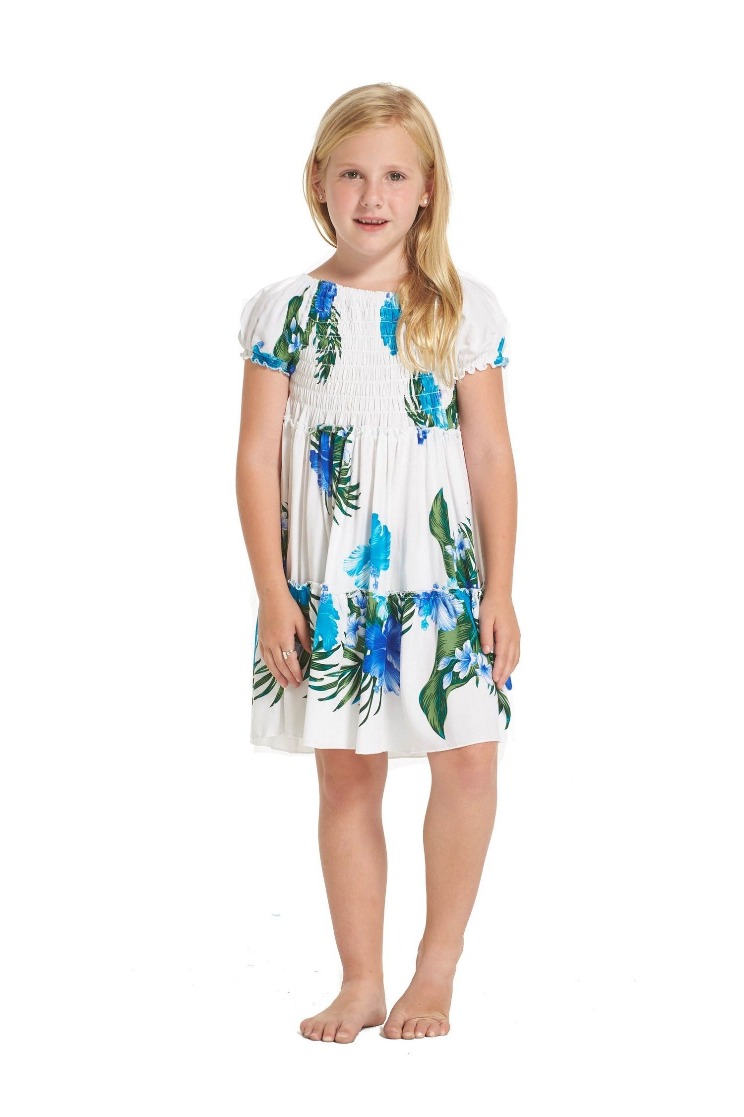 6b6966a55e8 Girl Short Sleeve Top Ruffle Dress with Blue Floral in White