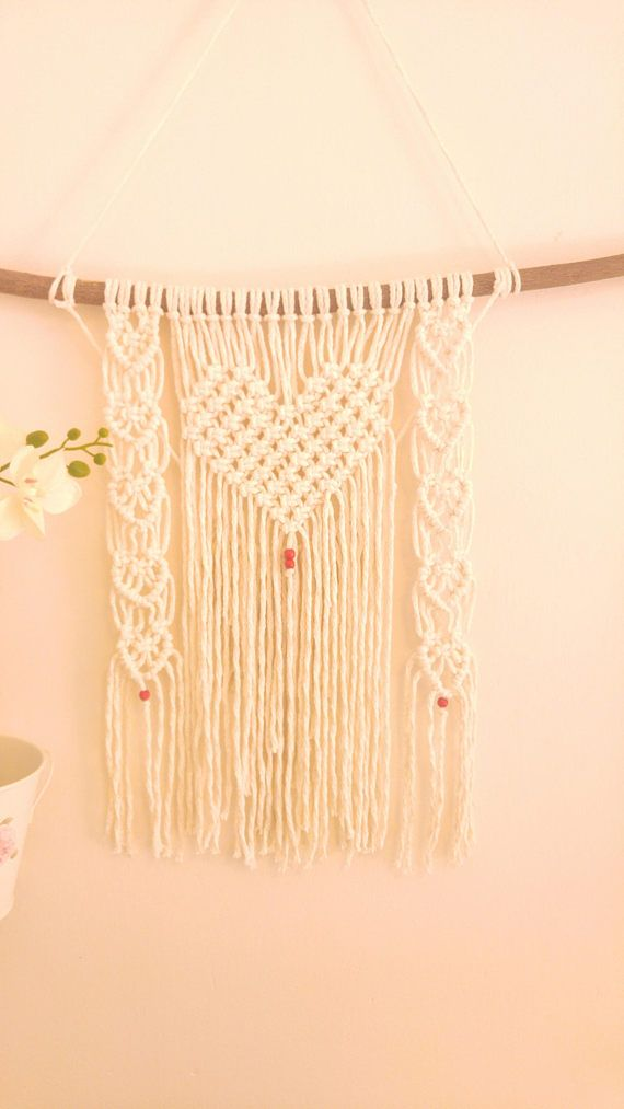 Heart shaped macrame, Macrame Wall Hanging, Macrame Tapestry ...