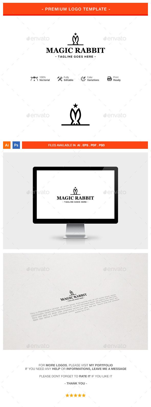 Magic Rabbit Logo Template — Photoshop PSD #rabbit #logo • Download ...