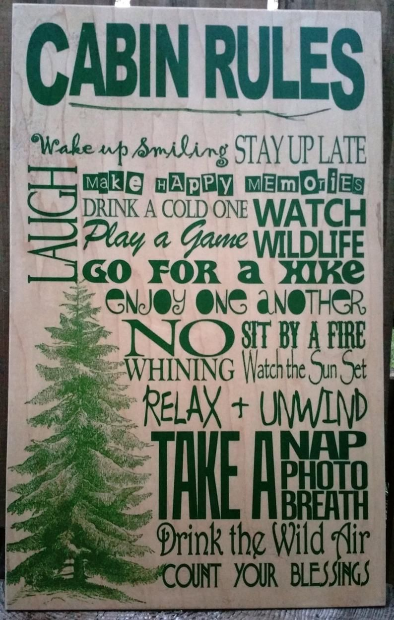 Pine Tree Cabin Rules Wood Sign Can Be Personalized Rustic Etsy In 2020 Cabin Rules Mountain Cabin Decor Cabin