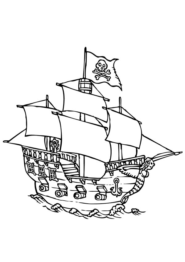 Pirate Ship With Four Canon Ready To Fire Coloring Page Kids Play Color Ausmalbilder Ausmalen Bilder