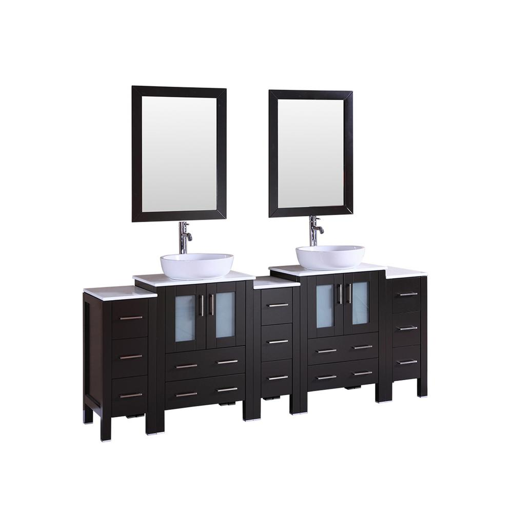 Bosconi 84 In W Double Bath Vanity In Espresso With Stone Vanity