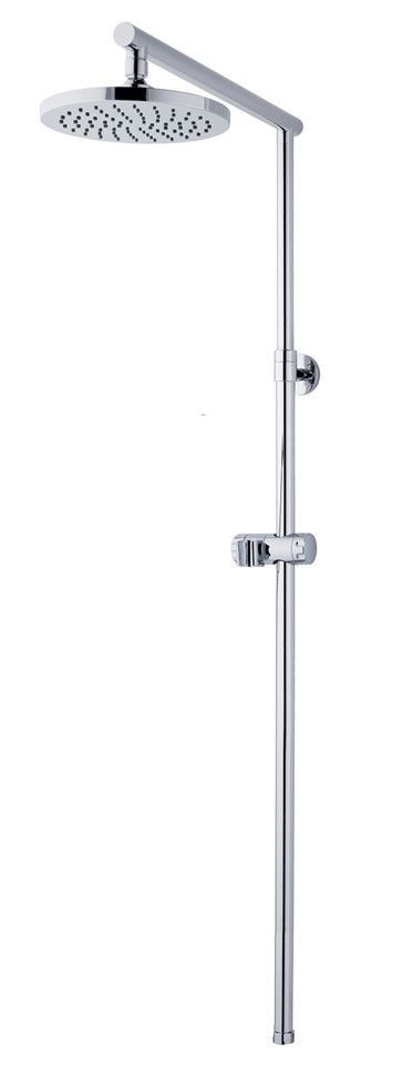 Chrome Telescopic Exposed Rigid Riser Rail Shower Kit 200mm 8  Metal Shower Head