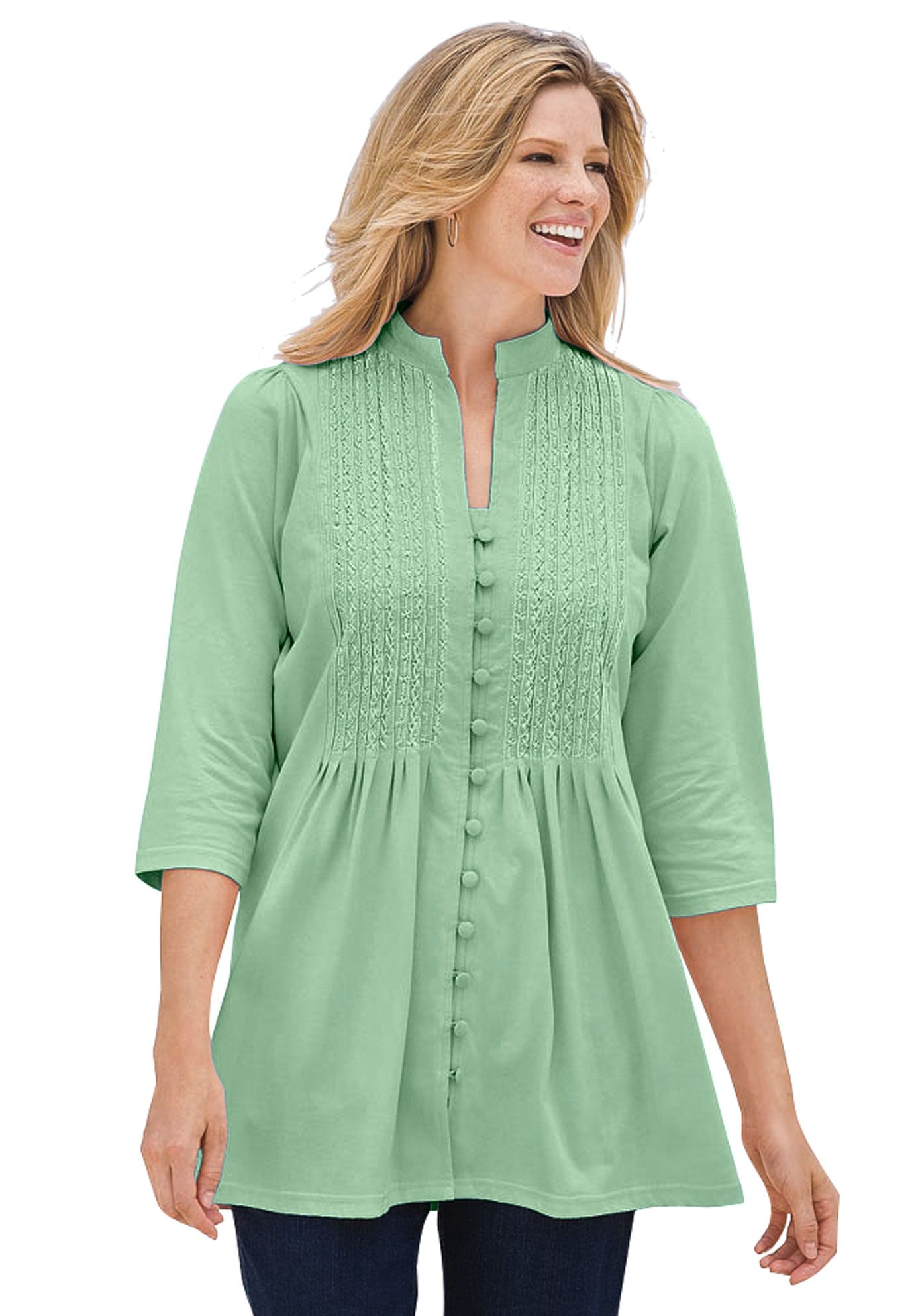 44898748732632 Empire Style Tops for Women | PLUS SIZE TUNIC TOP, Pleated, Pintucked &  Embroidered, Pale Seaform .
