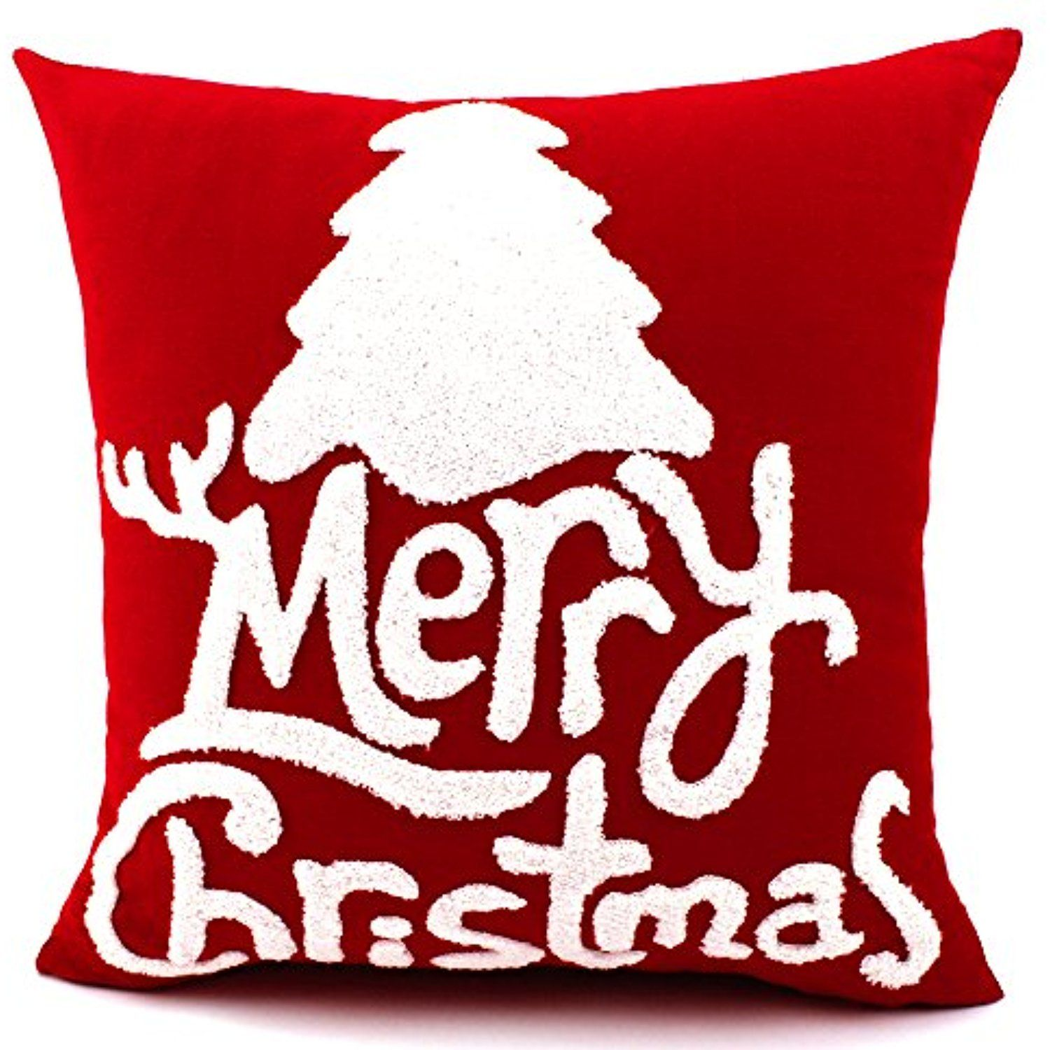 anroll 18 canvas cotton embroidery throw pillow covers christmas decorative decor for couch bed chair red d you can get additional details at the - Christmas Decorative Pillow Covers