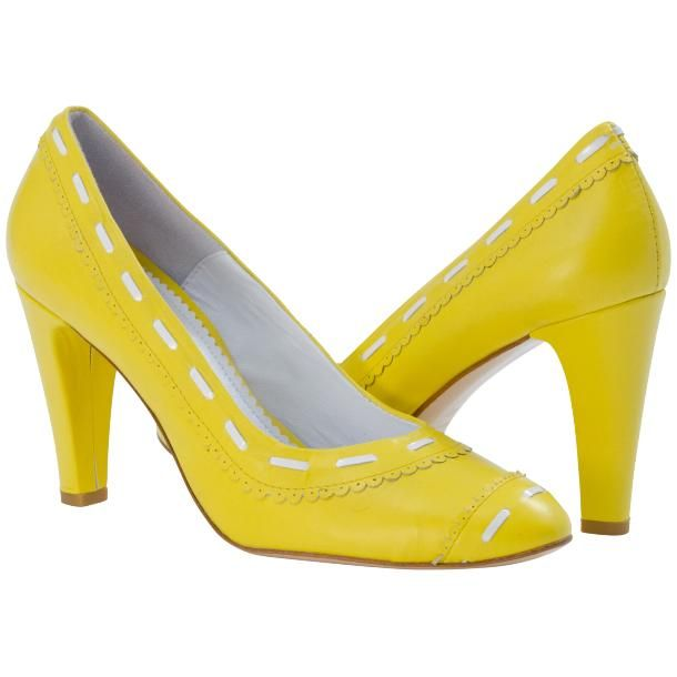 Dora Lemon Yellow Nappa Leather Pumps from PaoloShoes.com ...