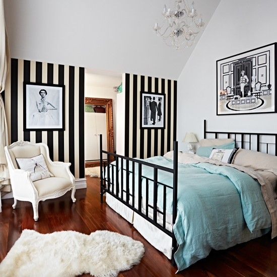 Bedroom with black and white striped wallpaper modern for Black and white vintage bedroom ideas