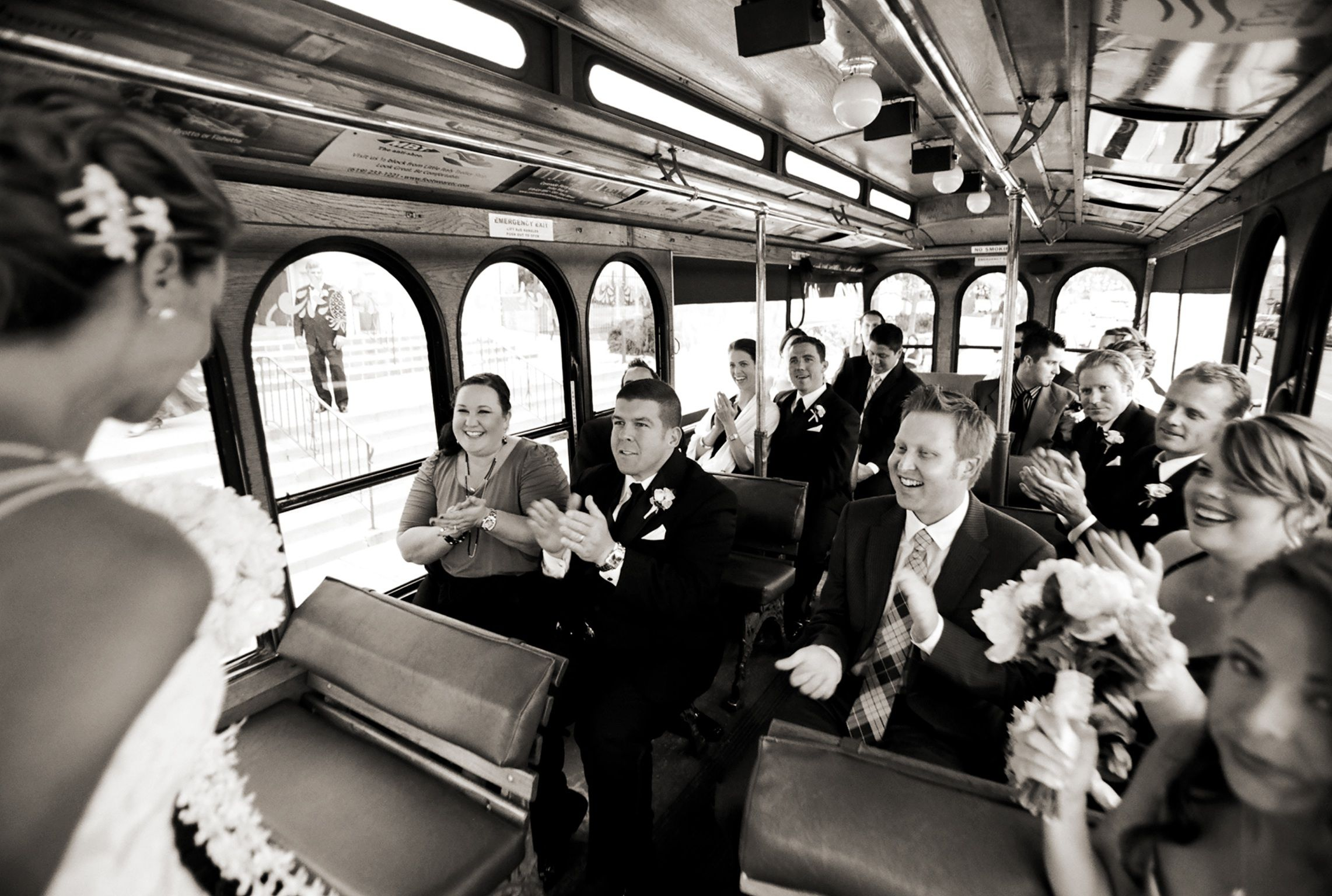 Trolley treat wedding photos wedding party bridal party