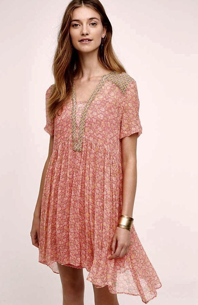 629fde5c80cb NWT Anthropologie Maeve coral pink Sheer Chiffon Printed Swing Dress slip  12 #Maeve #versatile