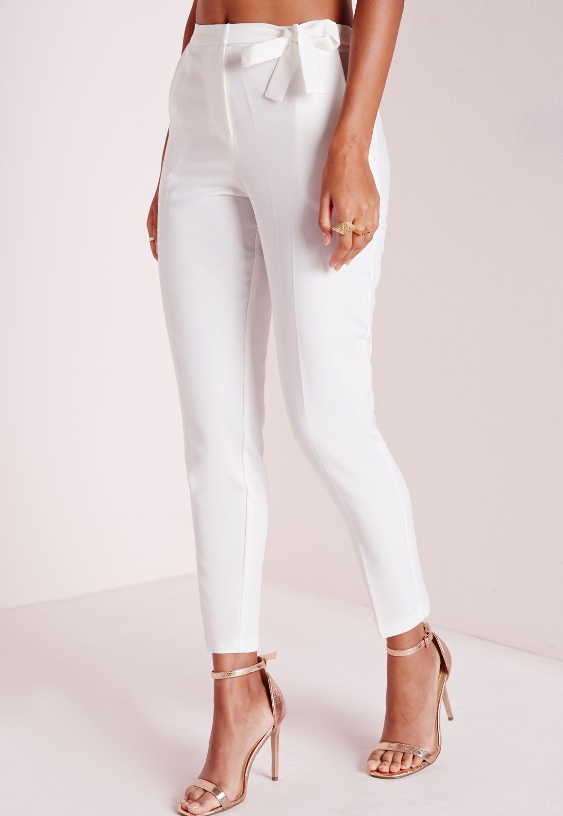 99d72d52 Tie Belt Crepe High Waist Pants White in 2019 | wedding outfit ideas ...