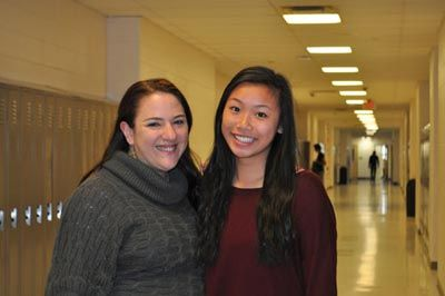 Laura Stetser/Pictured are teacher Christine Salvatore-Smith, left, with her student poet Claudia Lee.