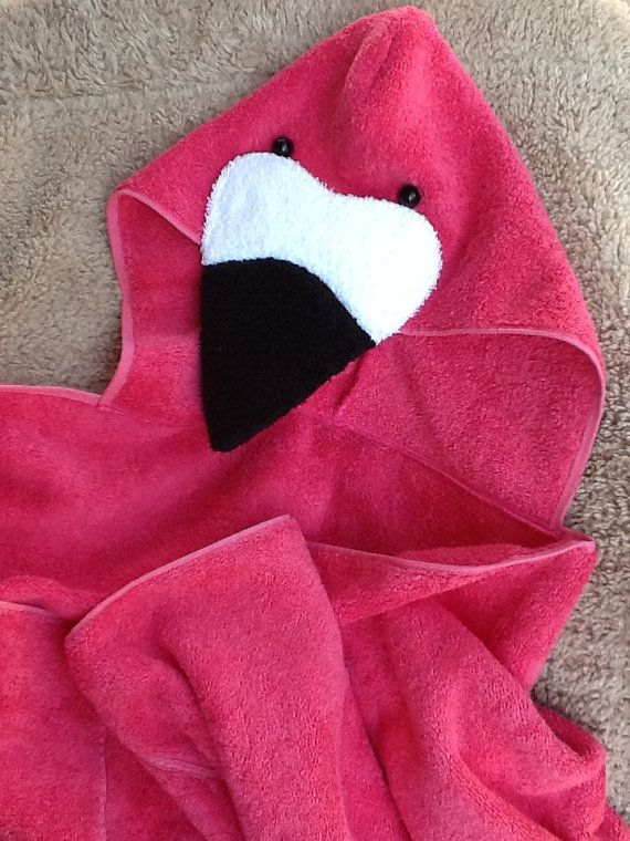 Flamingo Adult Size Hooded Bath Towel Pink Flamingo For Pool And