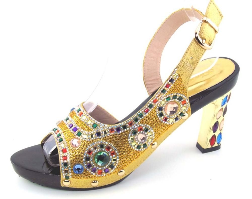 a42a09d98  Free Shipping  Buy Best GOLD Hot Selling African Sandals Shoes Rhinestone