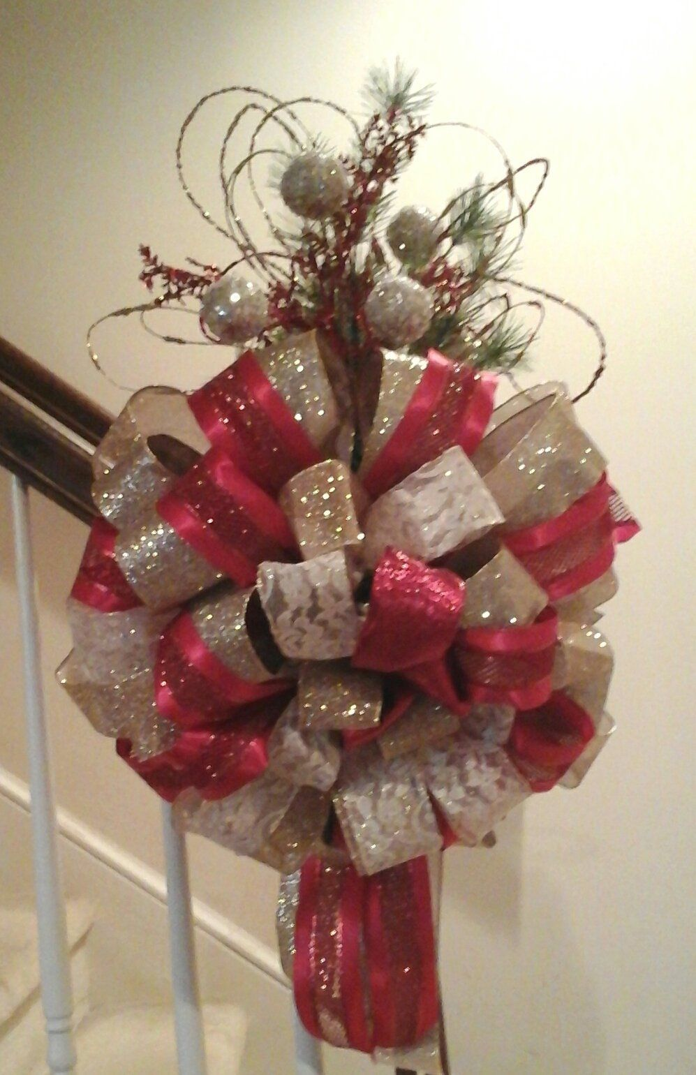 Christmas Tree Bows Red.Christmas Tree Topper Bow Shipping Included Luxury