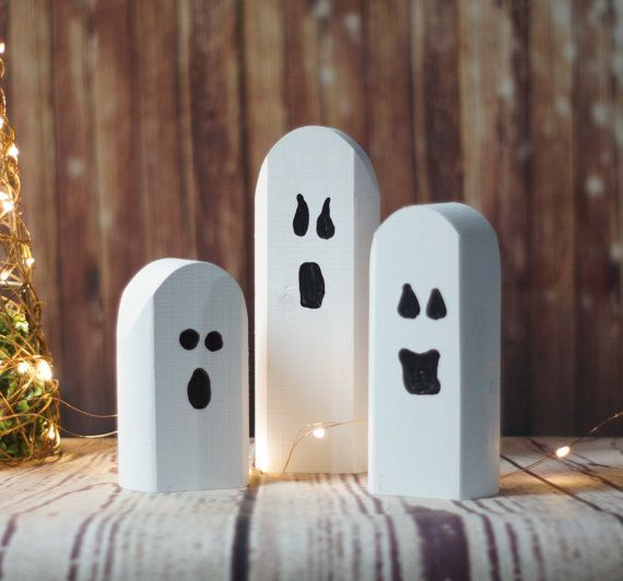 Reclaimed Wood Ghosts, Rustic Halloween Decor, Primitive Ghost - halloween decorations for cheap