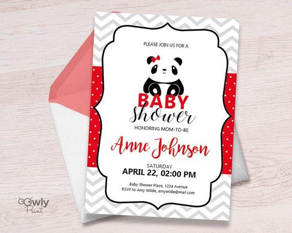 Printable Personalized Panda Baby Shower Invitation Red Pdf Sho