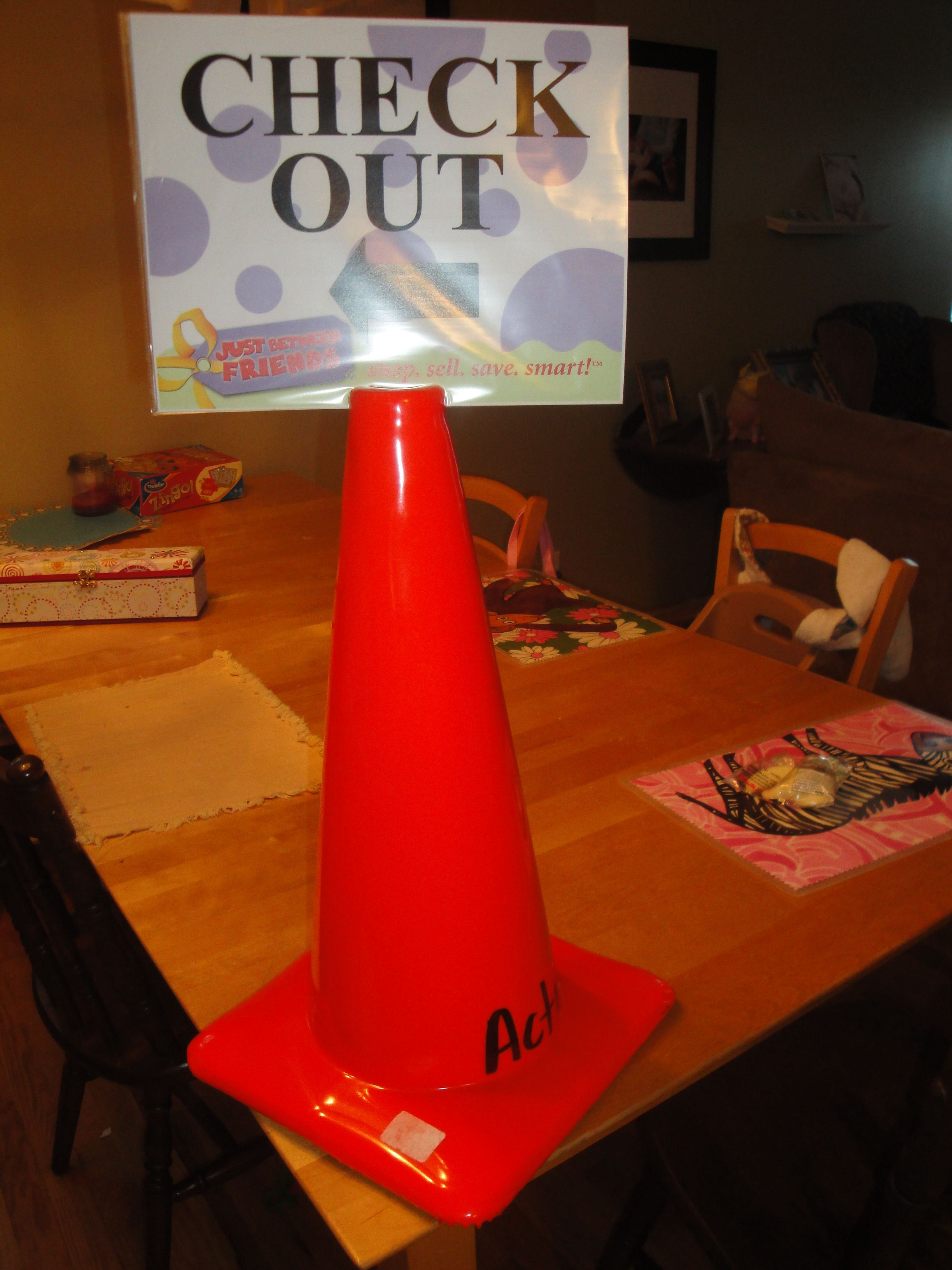 safety cone with laminated sign great for floors