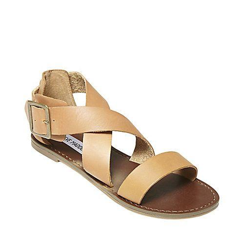 f3fc329687882 BISCAYNE NATURAL LEATHER women's sandal flat strappy - Steve Madden ...