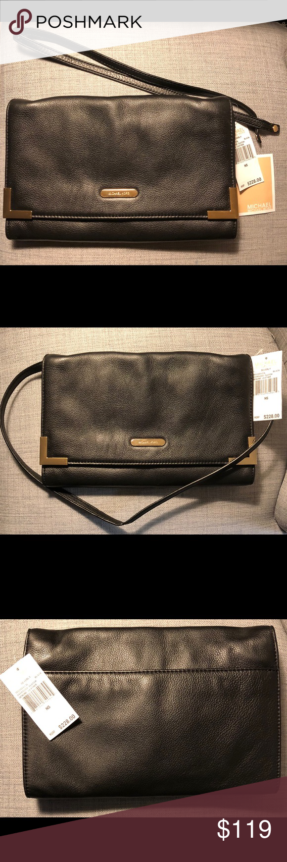 1e8437468308 Michael Kors Beverly Black Leather Clutch Purse Michael Kors Beverly  Oversized Soft Black Genuine Leather Clutch