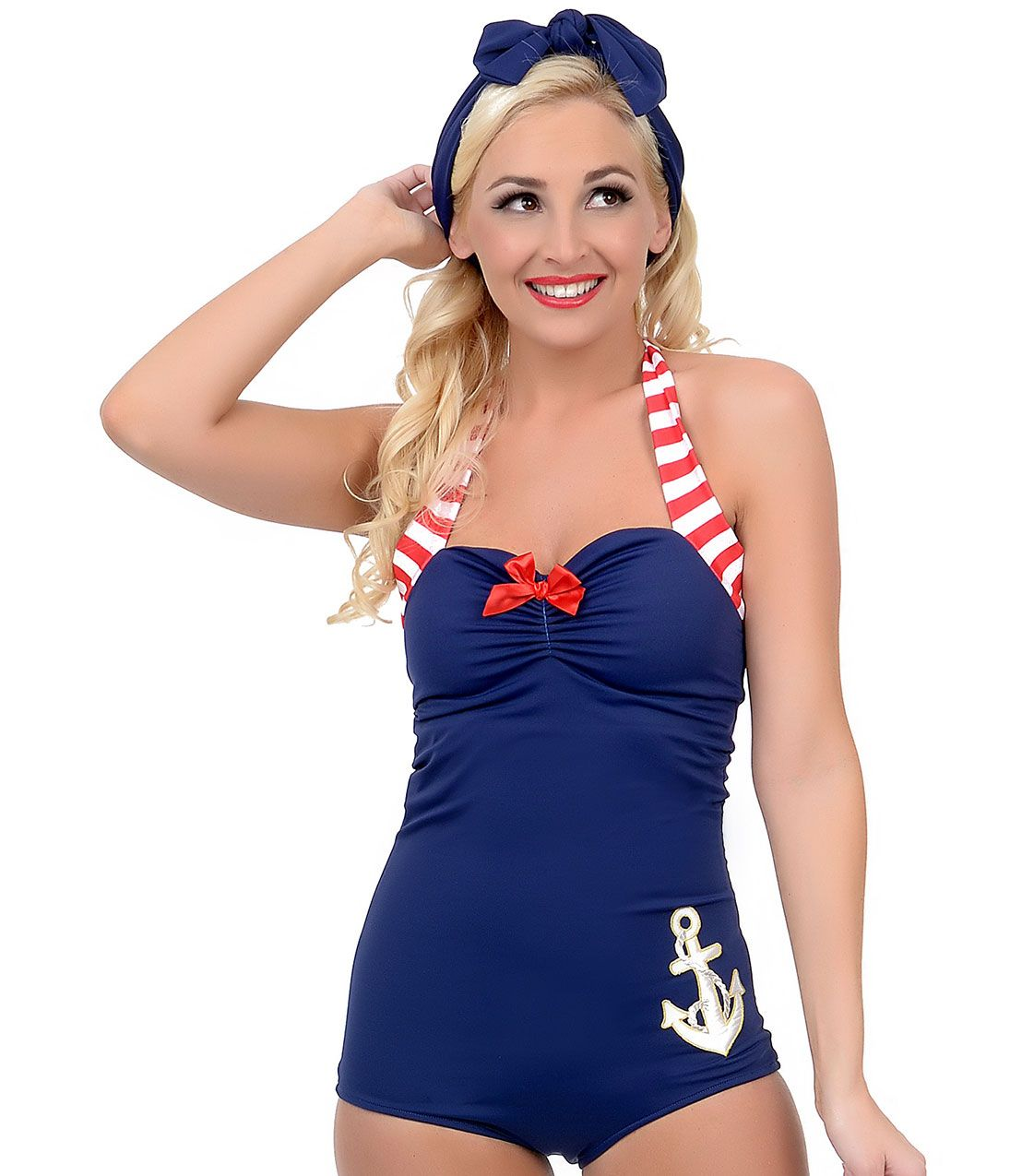 f5c6b99bf6f96 Vintage 1950s Style Pin-Up Navy Anchors Away Maillot Swimsuit $52.00 AT  vintagedancer.com