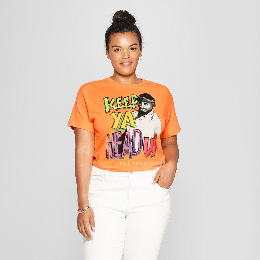fc399b25a Women's Tupac Plus Size Short Sleeve Keep Ya Head Up Graphic T-Shirt ( Juniors') Neon Orange 2X