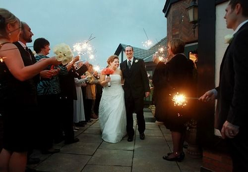 My favorite Halloween wedding photo ... those sparklers are actually magic wands.