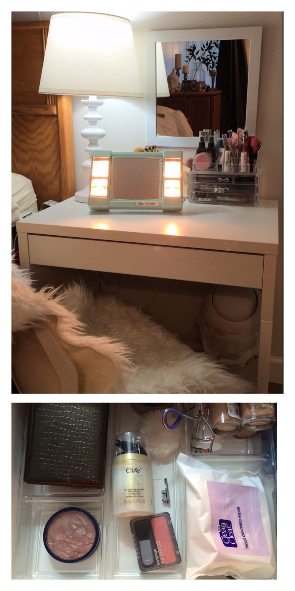 Image Gallery For Website Small bedside vanity with Ikea Micke desk acrylic drawer organizers from Walmart acrylic make