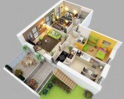 Denah Apartemen 3 Kamar Tidur Minimalis 3D 1 - Kamar anak