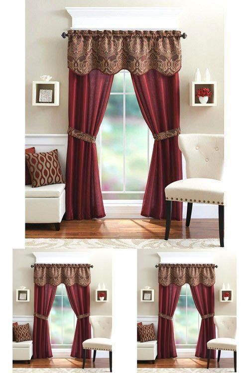 5pc Window Curtain 2panel Valance Semi Sheer Drape Brick Set