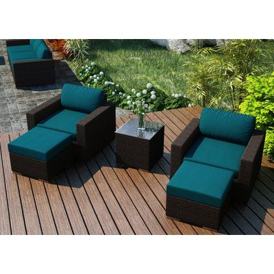 rosecliff heights hodge 5 piece teak seating group with sunbrella rh pinterest com