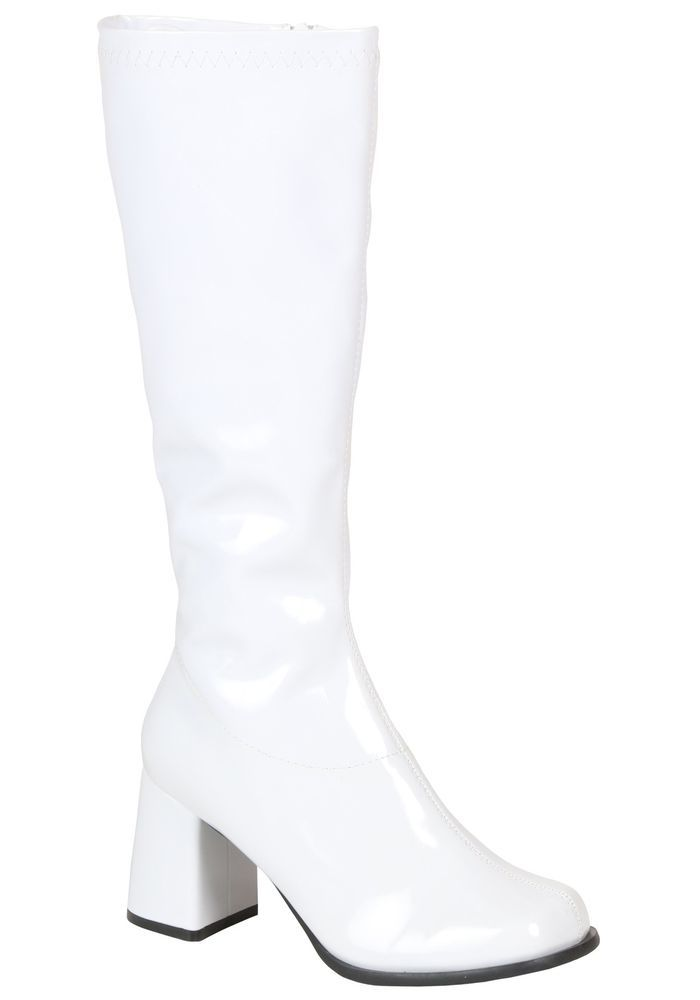 GOGO Boots Mod Disco 70/'s Wide Calf Fancy Dress Up Halloween Costume Accessory