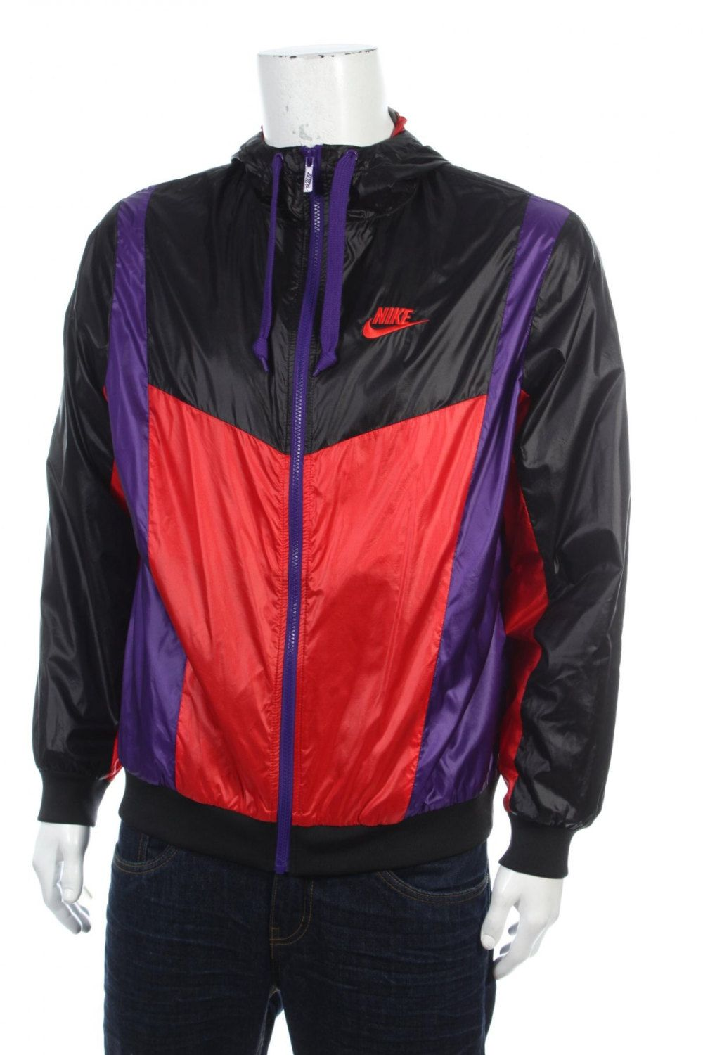 d5baefedb4 Vintage 90s Nike Swoosh windbreaker jacket Remake Hip Hop Rap Style Color  Block Purple Black Red Size L by VapeoVintage on Etsy