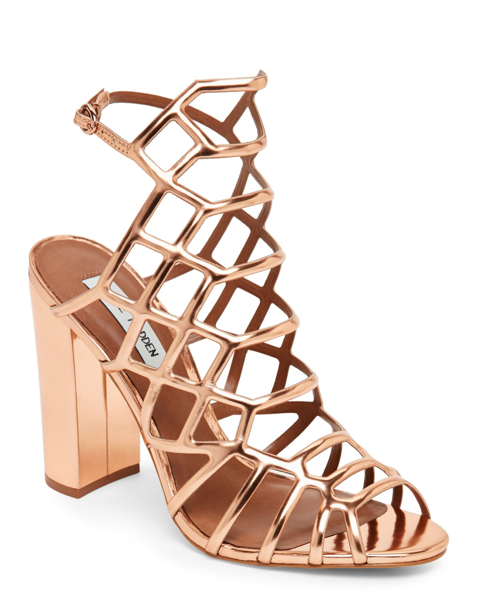 aa8b07e6f57 Steve Madden Rose Gold Skales Block Heel Caged Sandals