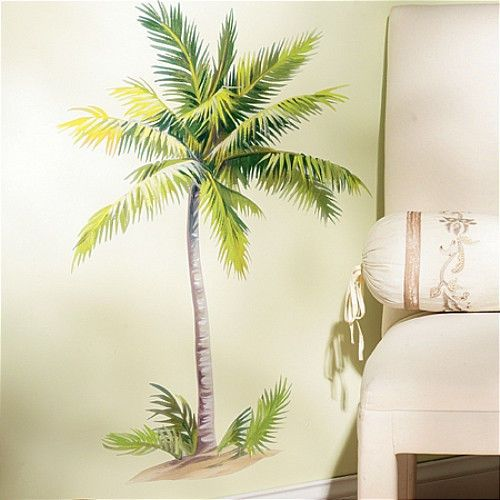Wallies Palm Tree Wall Stickers Mural 6 Decals Tropical Leaves Decor 32 Tall Tropical Leaf Decor Tropical Home Decor Palm Tree Wall Art