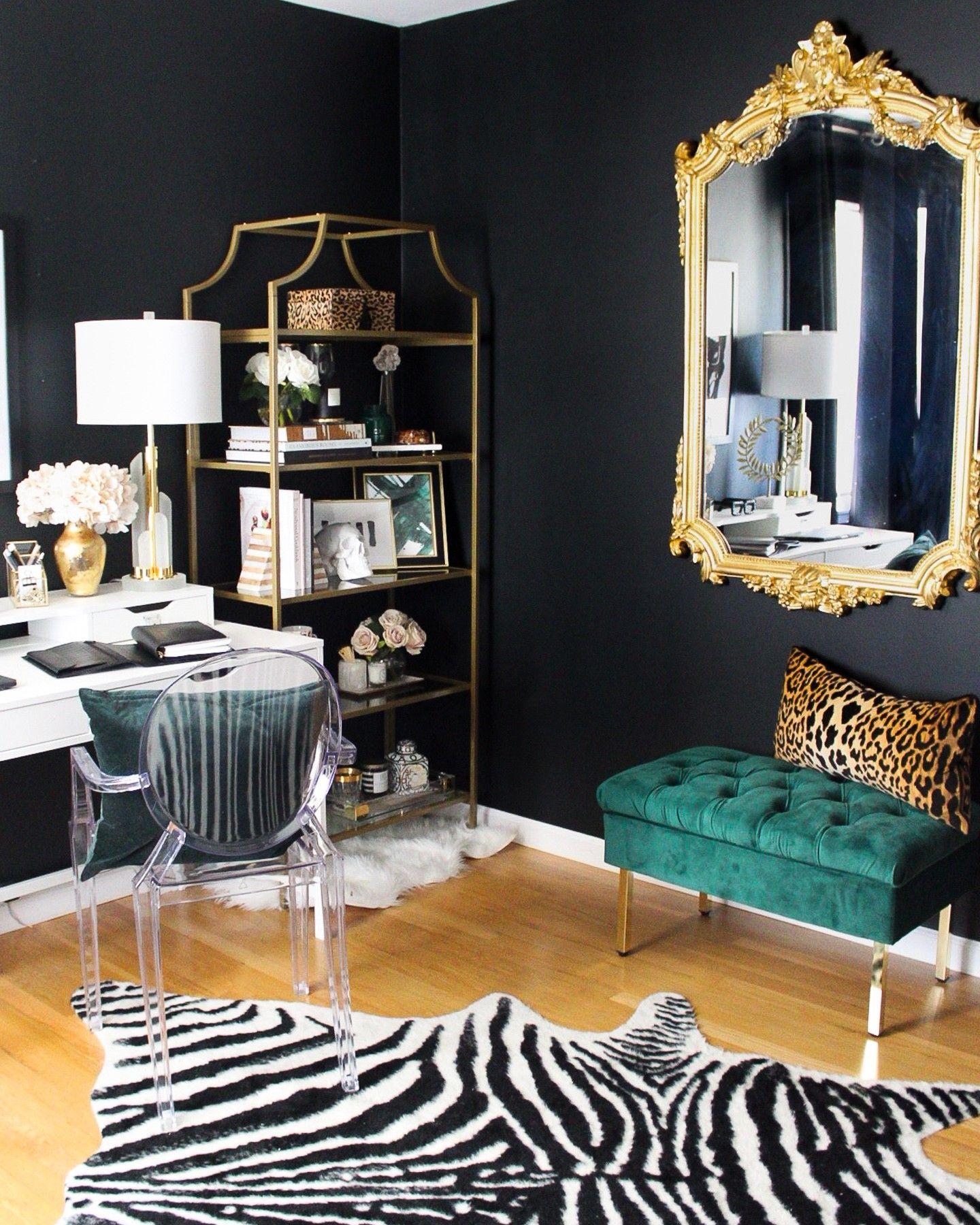 Black Glam Office Home Office Design Elegant Home Decor Home