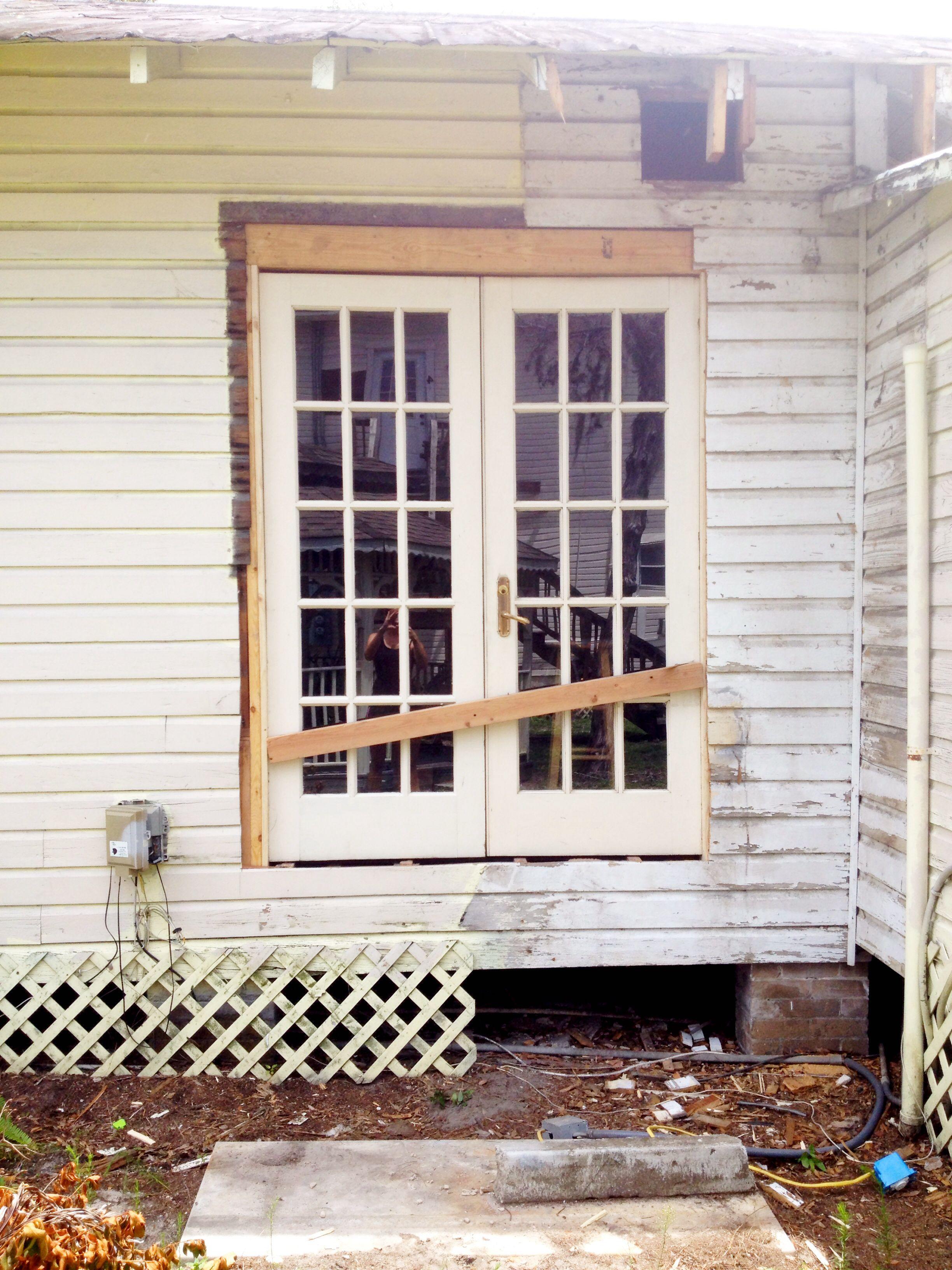 DIY French door installation.