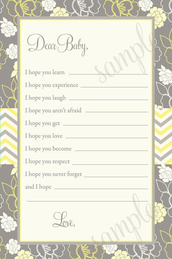 Yellow & Grey Floral Dear Baby Fill in the Blank Shower Game ...