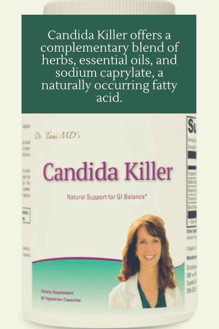 Candida Killer offers a complementary blend of herbs, essential oils, and sodium caprylate, a naturally occurring fatty acid.
