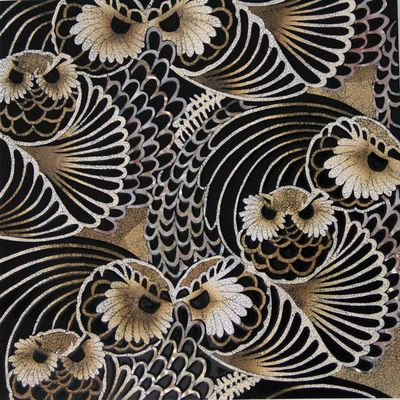 Swatch, Eggshell Light to Dark Black Lacquer MOP Owl Pattern #Cravt #Original #Craftsmanship #Materials #Eggshell #Light #Dark #Black #Lacquer #MOP #Mother #Of #Pearl #Owl #Pattern