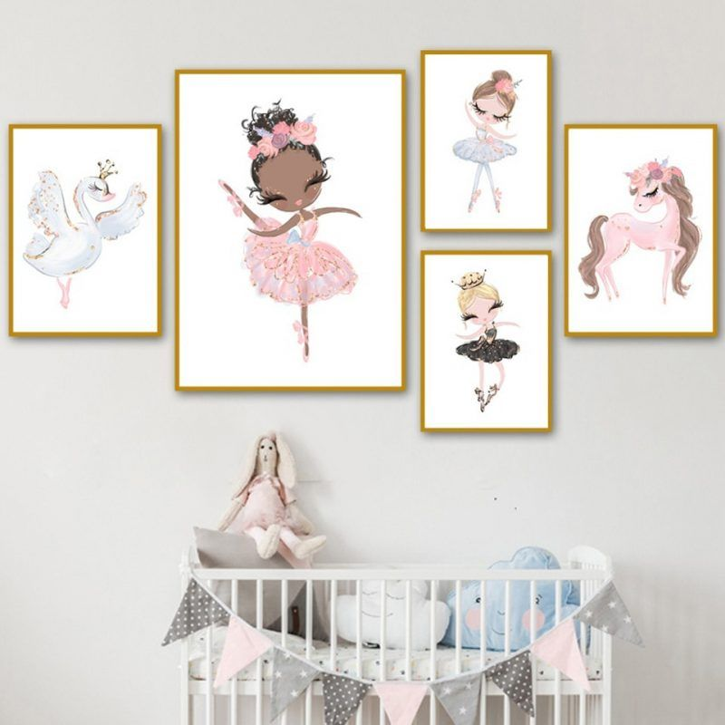 Flamingo Crown Art Canvas Poster Animal Nursery Prints Nordic Decoration Picturs