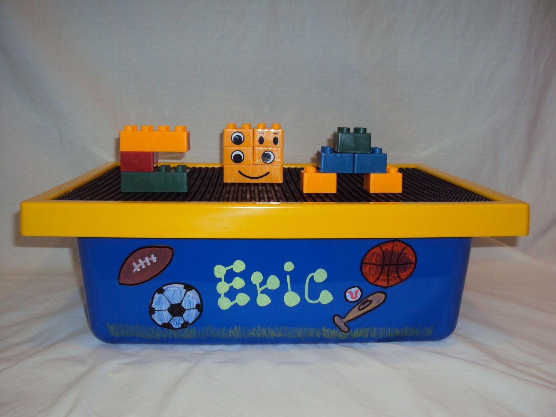 Lego Block Box. by KiddieAnticsByCyndi on Etsy, $25.00