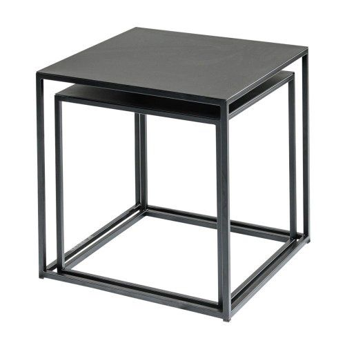 Amazon Com Black Welded Steel Side Table End Table Nesting