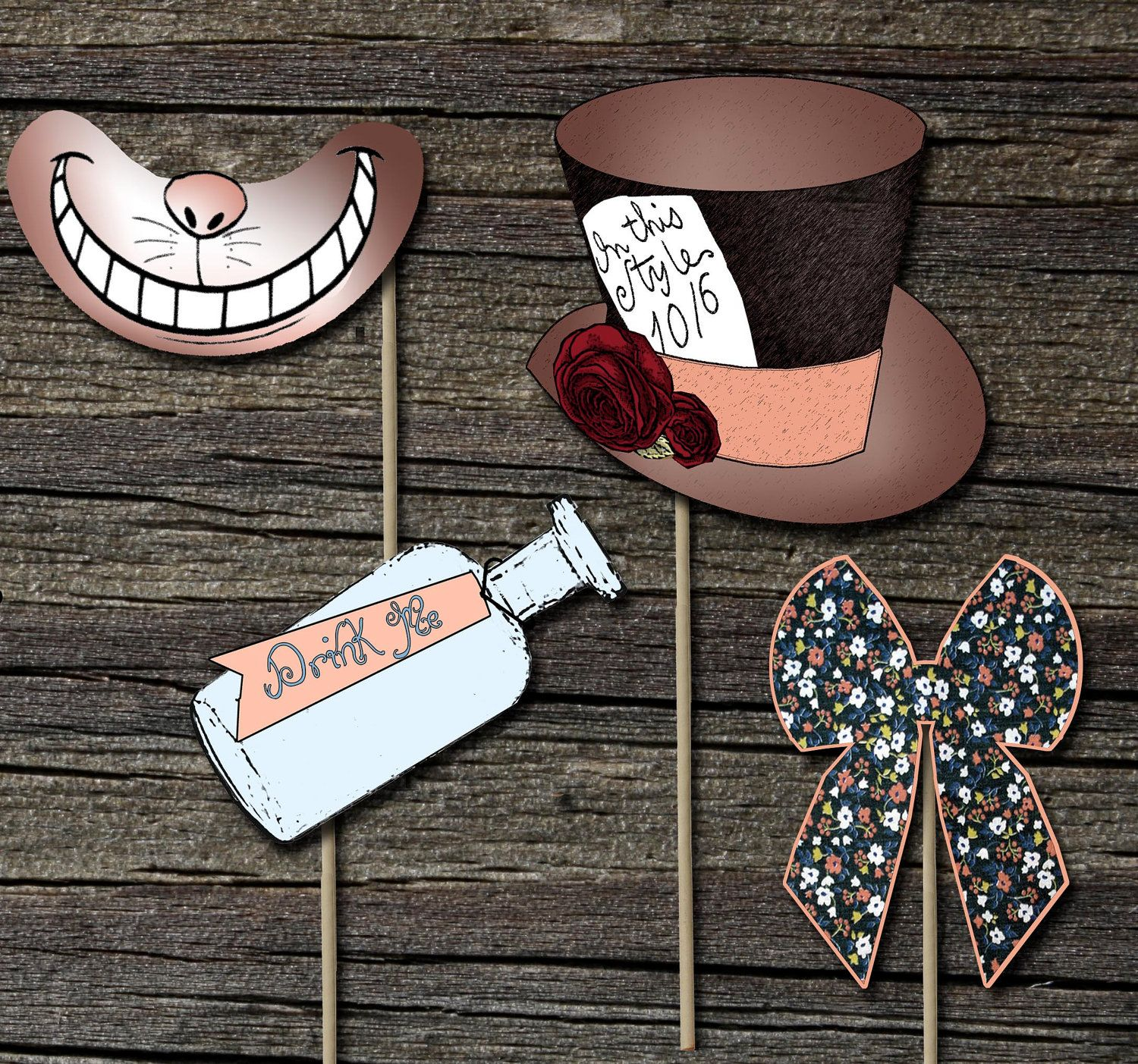 mad hatter teparty invitations pinterest%0A Alice in Wonderland Photo Props Set of   by theblueeggevents          Mad  Tea