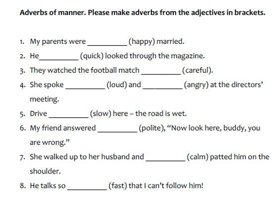 Adverbs Of Manner ENGLISH ADVERBS OF MANNER – Adverb Practice Worksheet