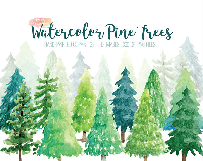 Watercolor Pine Tree Forest Clipart Watercolor Tree Clipart Etsy Tree Clipart Christmas Tree Clipart Clip Art