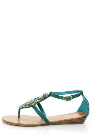 6a17e35a5e55e Bamboo Wonderful 10 Teal Rhinestone Embellished Thong Sandals