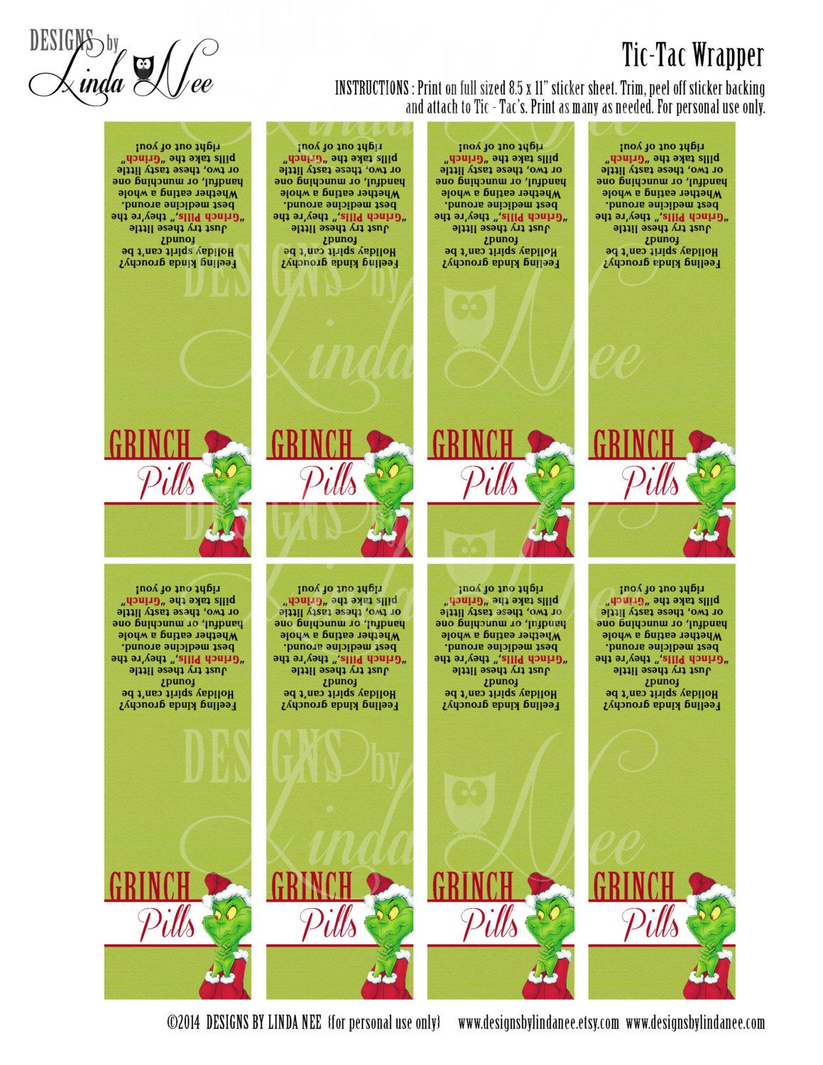 image about Grinch Pills Free Printable referred to as Tic Tac GRINCH Products with poem Printable by way of