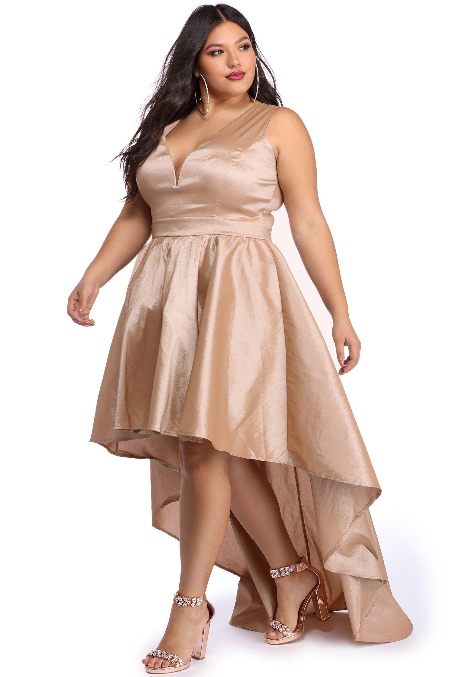 Plus lizzie taupe classic twist formal dress beautiful woman