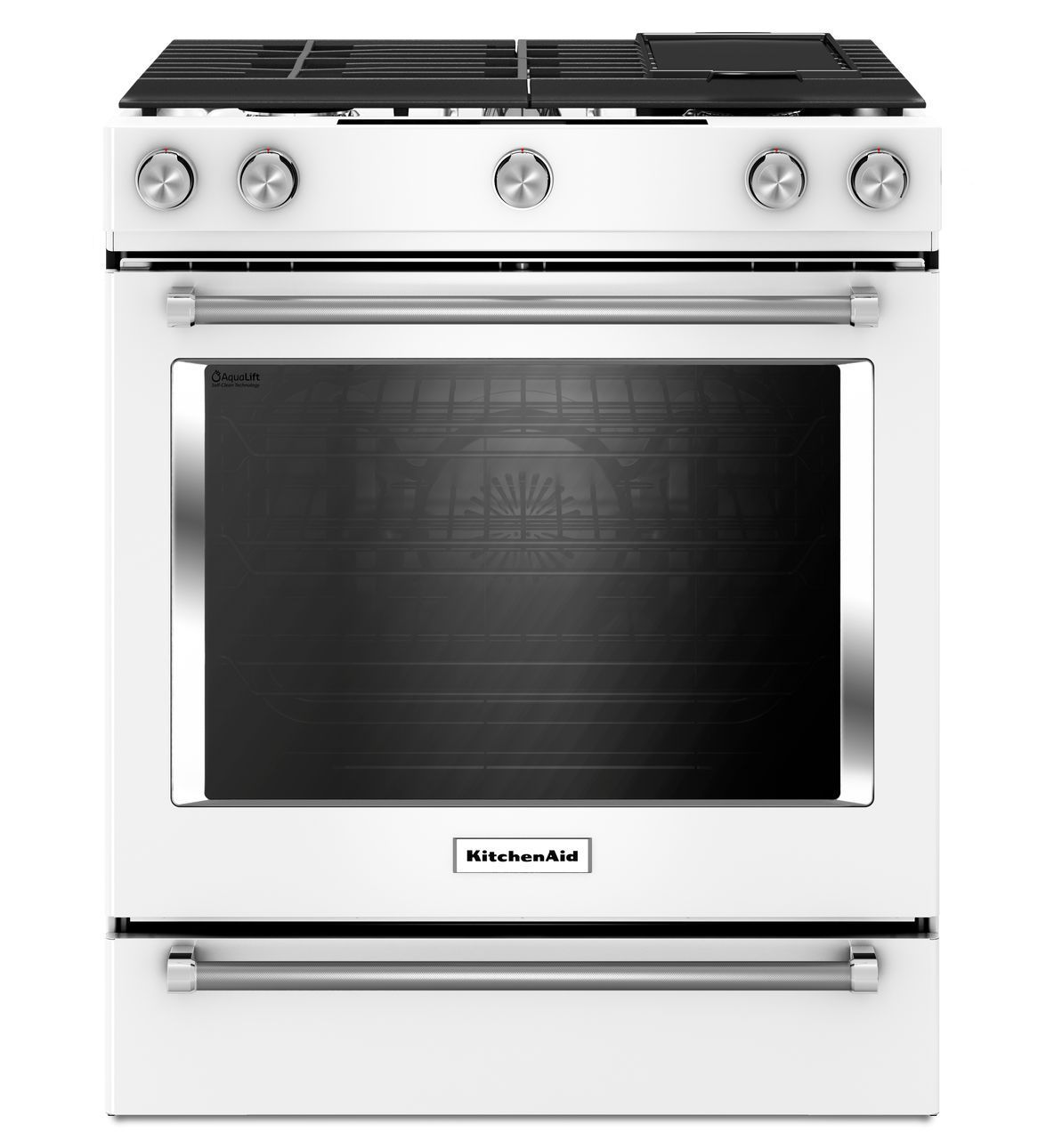 Great KitchenAid 30 Inch 5 Burner Gas Convection Slide In Range With Baking Drawer
